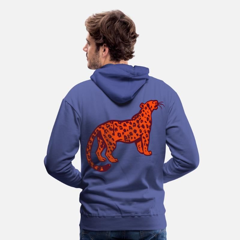 Leopard Hoodies & Sweatshirts - Curious Leopard by Cheerful Madness!! - Men's Premium Hoodie royal blue