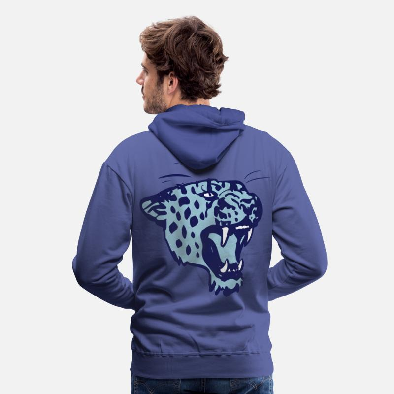 Leopard Hoodies & Sweatshirts - Roaring Leopard by Cheerful Madness!! - Men's Premium Hoodie royal blue