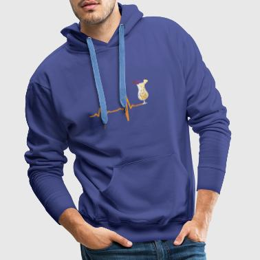 Heartbeat cocktail with umbrella gift - Men's Premium Hoodie