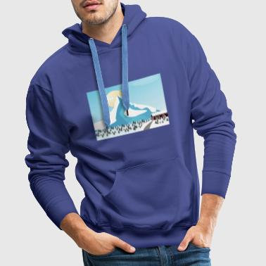 Winter, mountains, house, firs, romantic gift - Men's Premium Hoodie