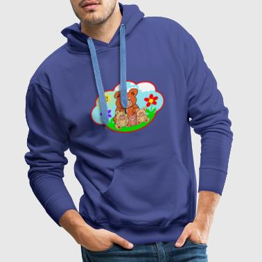 Four funny teddy bears on the meadow gift - Men's Premium Hoodie