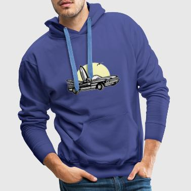 Muscle car in sunset 01_dreifarbig - Men's Premium Hoodie