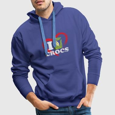 Crocodiles Love Valentine's Day Eche dinosaur animal - Men's Premium Hoodie