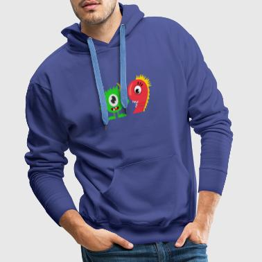 Funny 9th Birthday Green Monster Dinosaur Design - Men's Premium Hoodie