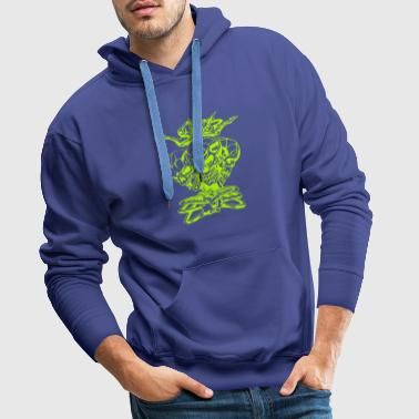 Triple Skull Head with Crown - Men's Premium Hoodie