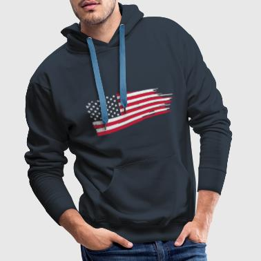 usa_flag_on_blue - Felpa con cappuccio premium da uomo