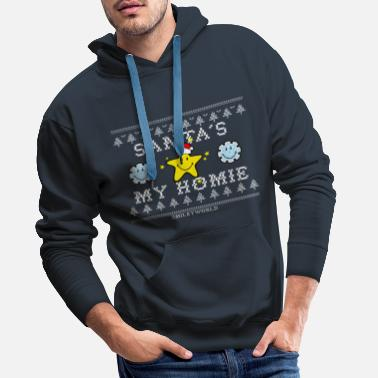 SmileyWorld Christmas Star Santa's My Homie - Men's Premium Hoodie