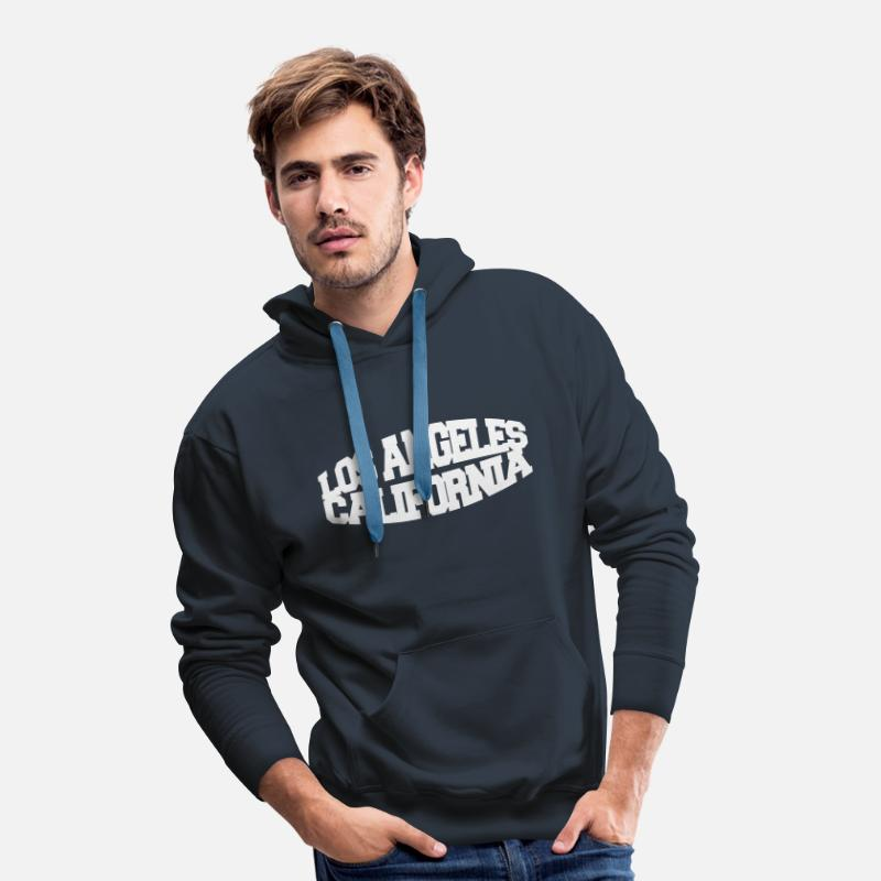 Amérique Sweat-shirts - los angeles california - Sweat à capuche premium Homme marine