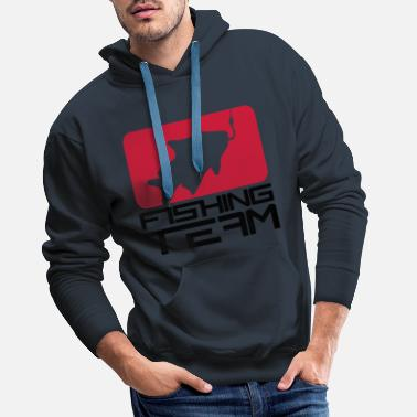 Bait red black fishing team sport logo caught fish - Men's Premium Hoodie