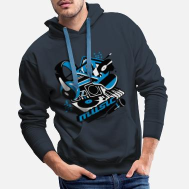 Turntable Cassette player, headphones and a turntable - Men's Premium Hoodie
