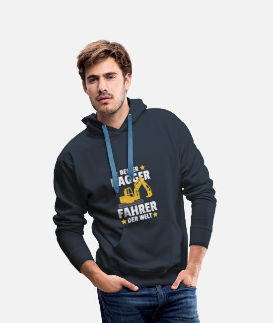 Building Site Hoodies & Sweatshirts - Best Excavator Driver in the World Award Gift - Men's Premium Hoodie navy