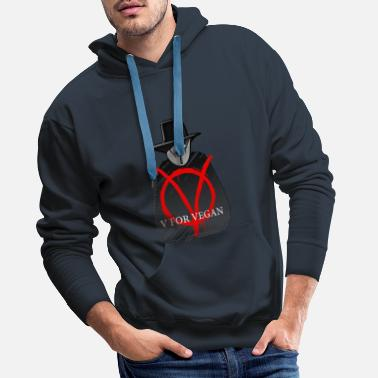 V FOR VEGAN - Men's Premium Hoodie