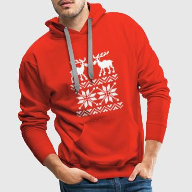 Moose Pattern Christmas Sweater - Men's Premium Hoodie