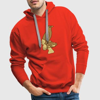 forest mushroom cute cute comic cartoon face rab - Men's Premium Hoodie