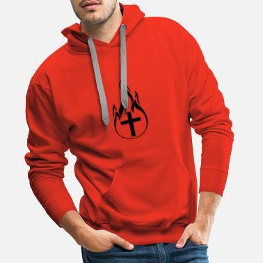 Burning black fire flames hot burn burnt fack - Men's Premium Hoodie