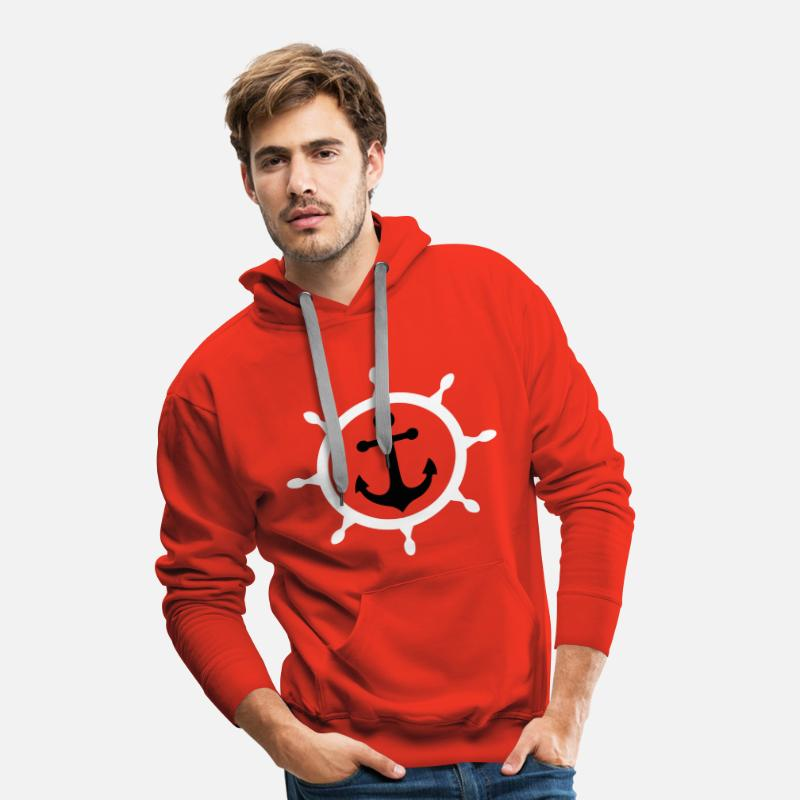 Ancre Sweat-shirts - ancre marine 3 - Sweat à capuche premium Homme rouge