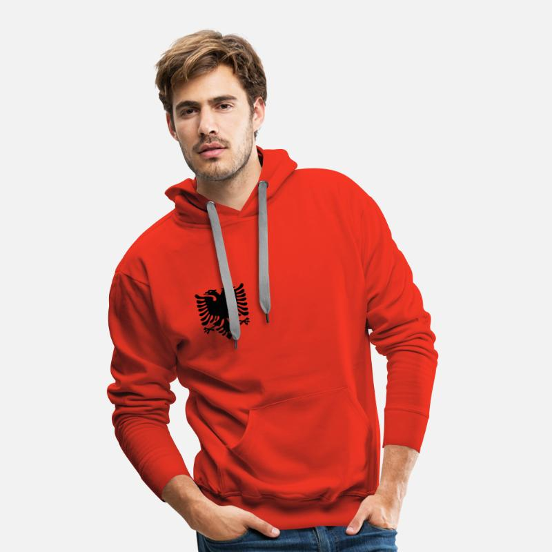 Eagle Hoodies & Sweatshirts - Albanian Eagle - Men's Premium Hoodie red