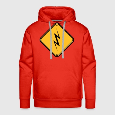 beware beware note danger sign lightning symbo - Men's Premium Hoodie