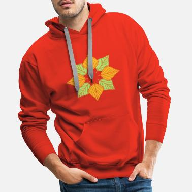 Flower many leaves colorful autumn silhouette star shape muste - Men's Premium Hoodie