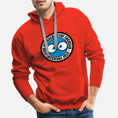 Stamp S circle round stamp comic cartoon eyes focused s - Men's Premium Hoodie