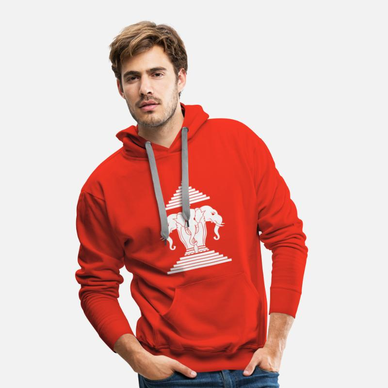 Buddha Sweat-shirts - Erawan Lao / Laos Flag - Sweat à capuche premium Homme rouge