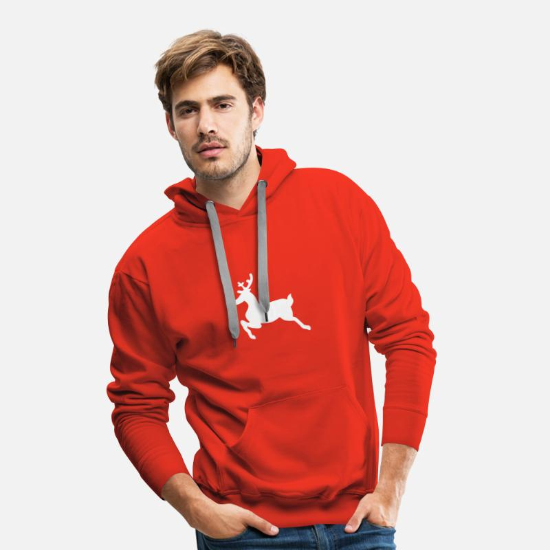 Bougie Sweat-shirts - cerf de rennes de noël - Sweat à capuche premium Homme rouge