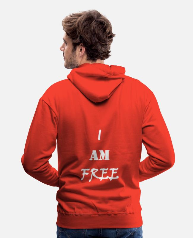 Quote Hoodies & Sweatshirts - I am free (withe) / I am free (white) - Men's Premium Hoodie red