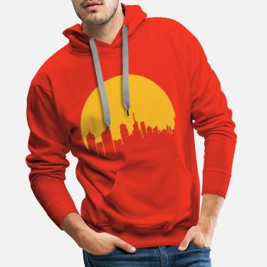 sun evening city metropolis silhouette outline haup - Men's Premium Hoodie