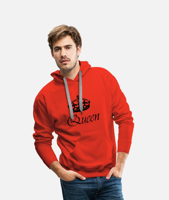 King Queen Sweat-shirts - Queen / Queen Design en noir | Idéal pour les couples - Sweat à capuche premium Homme rouge