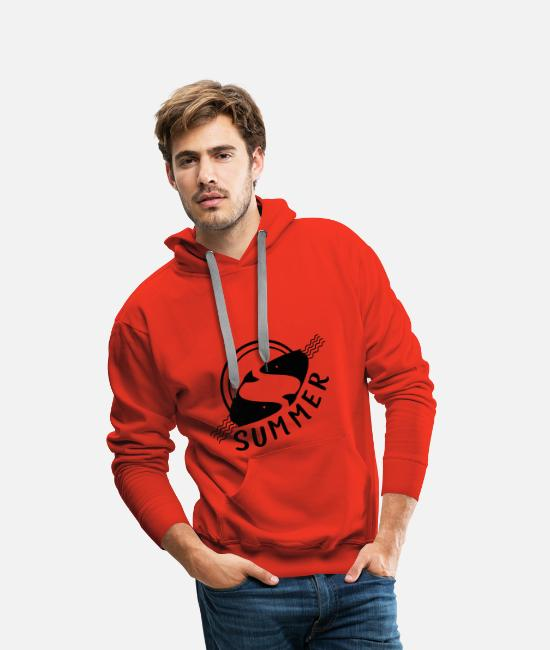 Water Hoodies & Sweatshirts - Sundown at sea - Men's Premium Hoodie red