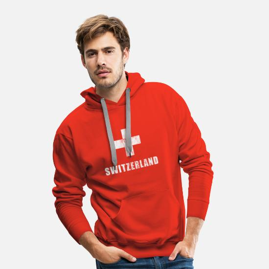 Zwitserse Sweaters & hoodies - Zwitserse fans voetbaltrui Zwitserse fans - Mannen premium hoodie rood