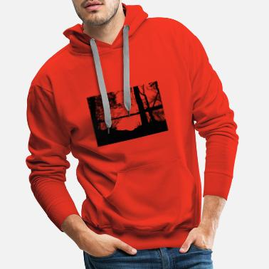 Scene Waldsee trees nature black white - Men's Premium Hoodie