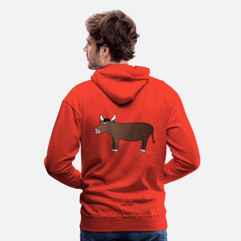 Bœuf Sweat-shirts - Taureau - Sweat à capuche premium Homme rouge