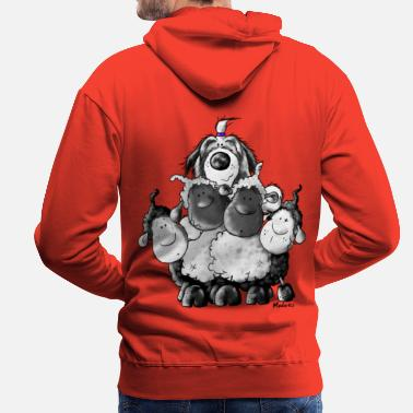 Bearded Collie Bearded Collie en schapen - hond  - Mannen Premium hoodie