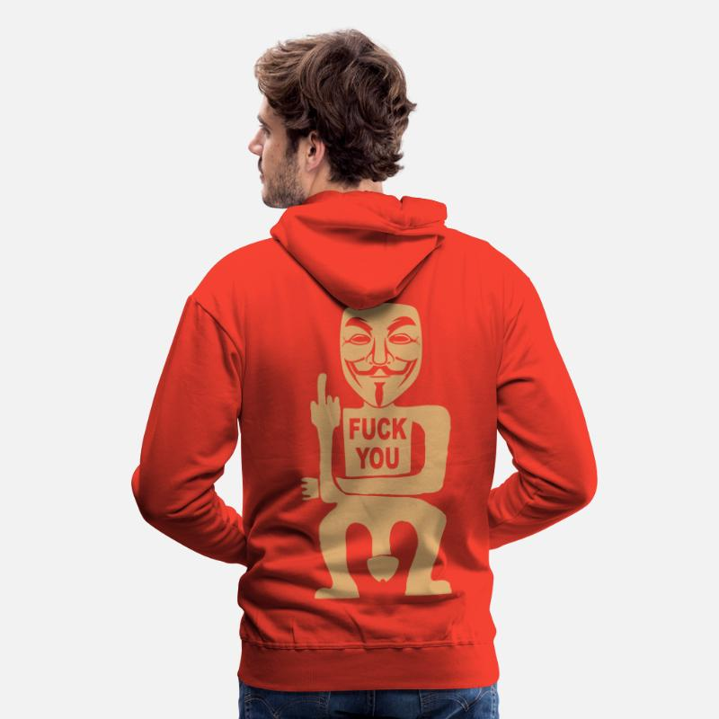 Anonymous Sweat-shirts - fuck you - Sweat à capuche premium Homme rouge