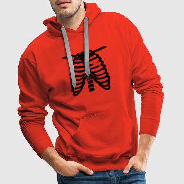 Heart skeleton heart love skiing ski gift skelet - Men's Premium Hoodie