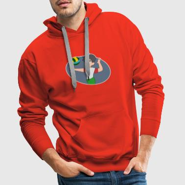 athletic volleyball player comic gift idea - Men's Premium Hoodie