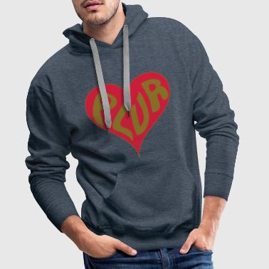PLUR - Peace Love Unity and Respect with a love heart new age mantra - Men's Premium Hoodie