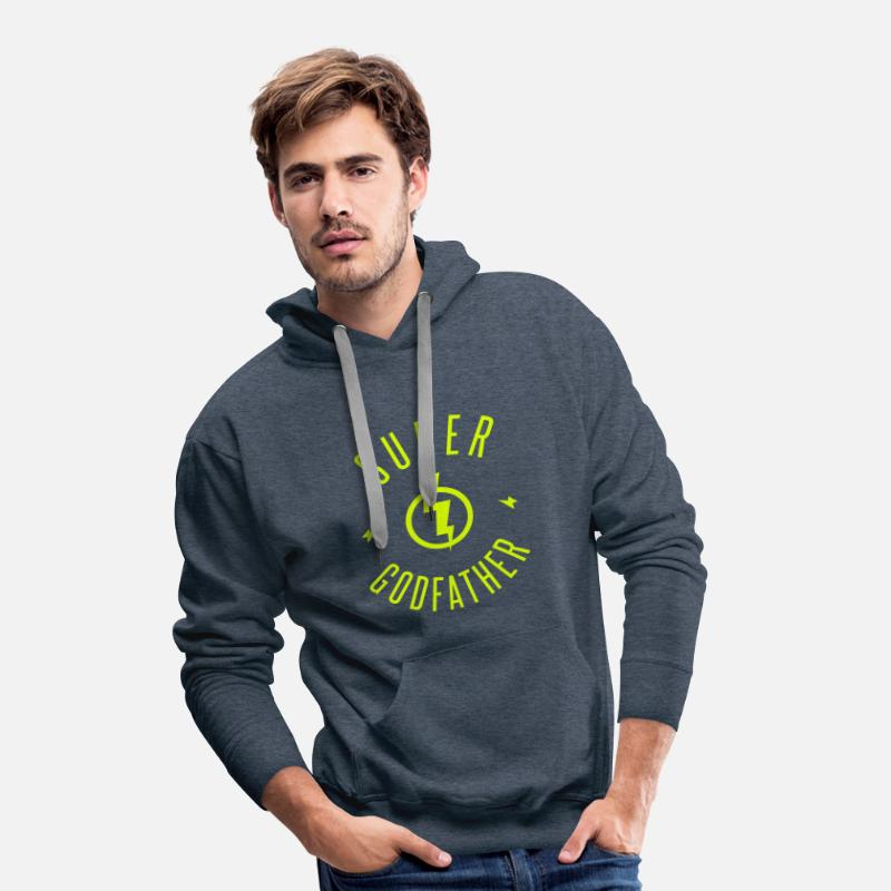 Baby Hoodies & Sweatshirts - SUPER GODFATHER - Men's Premium Hoodie heather denim
