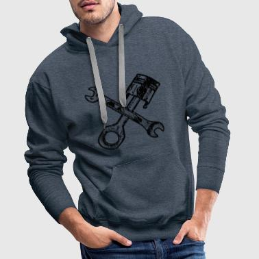 Tuning pistons with crossed wrenches - Men's Premium Hoodie