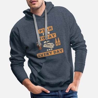 Cave Pontoon Boat Plan For Today Pontooning Fathers Day - Men's Premium Hoodie