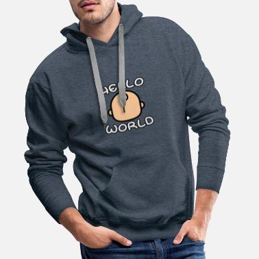 Stork Baby say Hello World - Men's Premium Hoodie