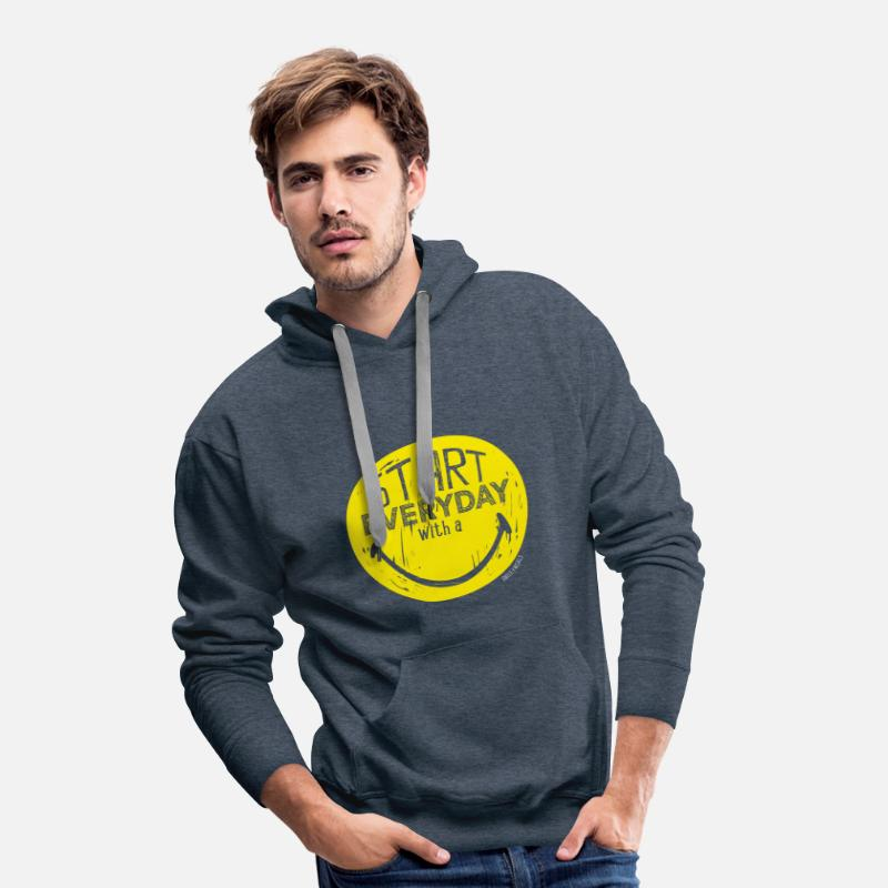 Emoji Hoodies & Sweatshirts - SmileyWorld Start everyday with a Smile - Men's Premium Hoodie heather denim