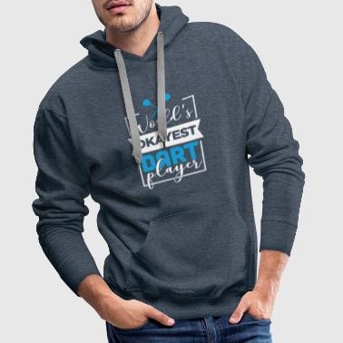 Bullseye World's okayest darts player gift idea WM - Men's Premium Hoodie