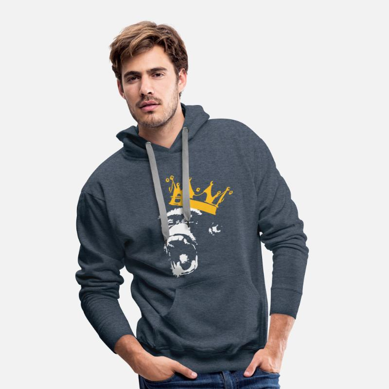 King Hoodies & Sweatshirts - Monkey King  - Men's Premium Hoodie heather denim