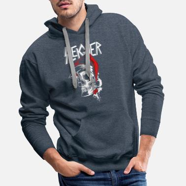 Rock Christmas Man Rocking Metal Sleigher Gift - Men's Premium Hoodie