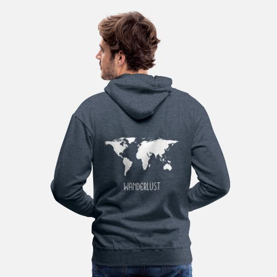 Motorhome Hoodies & Sweatshirts - Wanderlustmotiv World Map Gift Gift Idea - Men's Premium Hoodie heather denim