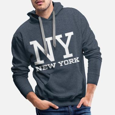Ny NY New York White - Men's Premium Hoodie