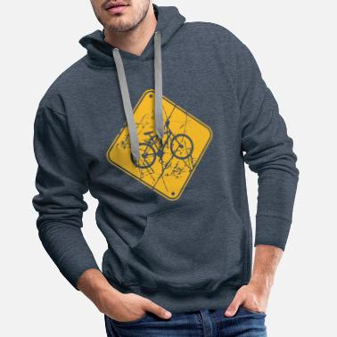 Image Scratch tears bicycle signage signboard note - Men's Premium Hoodie
