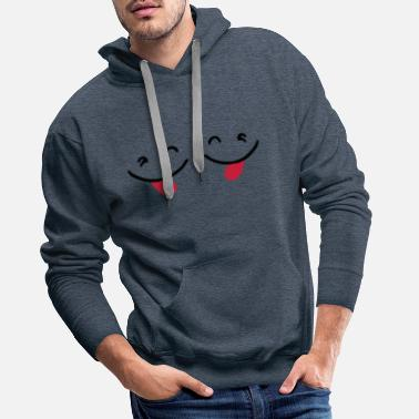 Stick Out ✔ټNaughty Cute Twin Emoticon-Sticking a Tongue Out - Men's Premium Hoodie